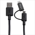 LTUB1MBK Apple Lightning/ Micro USB - USBケーブル 1m ブラック iPhone/iPod/iPad/Androidスマホ対応